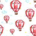 Watercolor seamless pattern with air balloon, clouds and star. abstract pastel
