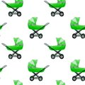 Watercolor seamless pattern of baby strollers isolated Royalty Free Stock Photo