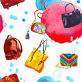 Watercolor seamless pattern with bags