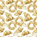 Watercolor seamless pattern baking: Croissants, bagels, bread isolated on background