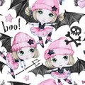 Watercolor seamless pattern. Ballet girls with bat wings and skulls. Dancing little witches. Teenager. Halloween horror Royalty Free Stock Photo