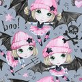 Watercolor seamless pattern. Ballet girls with bat wings and skulls. Dancing little witches. Teenager. Halloween horror