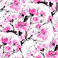 Watercolor seamless pattern with the blossoming plum.