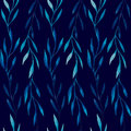 Watercolor seamless pattern of blue leaves on a dark blue background