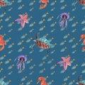 Watercolor seamless pattern on blue sea background turtle  jellyfish  seahorse  fish  starfish Royalty Free Stock Photo