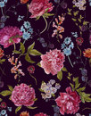 Watercolor Seamless Pattern with Burgundy Peonies