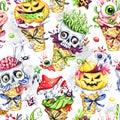 Watercolor seamless pattern, cartoon cones with skulls, pumpkins, eyes and amanitas. Halloween holiday illustration