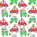 Watercolor seamless pattern with cartoon holidays cars and gifts. New Year. Celebration illustration. Merry Christmas. Royalty Free Stock Photo