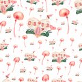Watercolor seamless pattern of houses with candy,bushes,hearts and mushrooms.Cute cartoon background in delicate colors.Seamless
