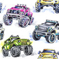 Watercolor seamless pattern Cartoon Monster Trucks. Colorful Extreme Sports background. 4x4. Vehicle SUV Off Road Royalty Free Stock Photo