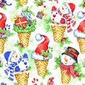 Watercolor seamless pattern with cartoon snowman, Santa hat and gifts. New Year. Celebration illustration. Merry