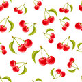 Watercolor seamless pattern with cherries. Hand drawn design.