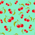 Watercolor seamless pattern with cherries on turquoise background