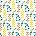 Watercolor seamless pattern with colorful leaves and branches. Hand paint vector seasonal background. Can be used for wrapping, te Royalty Free Stock Photo