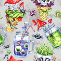 Watercolor seamless pattern, cone with skull, glass cups with potion, eyes, amanitas. Halloween holiday illustration