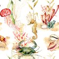 Watercolor seamless pattern with coral plants, animals. Hand painted crab, jellyfish, seahorse and shell illustration