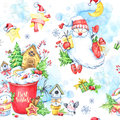 Watercolor seamless pattern with a cup of cream, gingerbread, fairy-tale snowmen, Santa Claus and gifts.