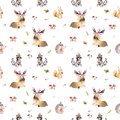 Watercolor seamless pattern of cute baby cartoon hedgehog, squirrel and moose animal for nursary, woodland forest