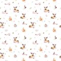 Watercolor seamless pattern of cute baby cartoon hedgehog, squirrel and moose animal for nursary, woodland forest Royalty Free Stock Photo