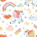 Watercolor seamless pattern with cute cartoon romantic unicorn, rainbow, stars, clouds.