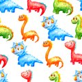 Watercolor seamless pattern cute dinosaurs of different colors and types on a white background