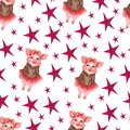 Watercolor seamless pattern with cute piggy and color stars. Pink pig and red stars watercolor illustration.