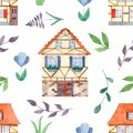 Watercolor seamless pattern with cute sweet houses, leaves, flowers.