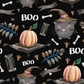 Watercolor seamless pattern with a cute witch cat, pumpkins Royalty Free Stock Photo