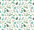 Watercolor Seamless Pattern with Deep Green Ferns, Blue Leaves and Pink Flowers