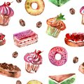 Watercolor seamless pattern with deserts, cupcakes, donuts and coffee