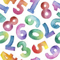 Watercolor seamless pattern of different number from one to nine