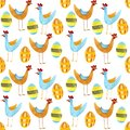 Watercolor seamless pattern with eggs and chicken for Easter and other users.
