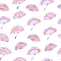 Watercolor seamless pattern with fan