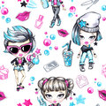 Watercolor seamless pattern with fashion teenagers. Glamorous girls with ice cream and phone, grunge girl with lemonade