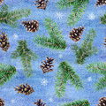Watercolor seamless pattern with fir tree branches, cones and snowflakes. Watercolor illustration.
