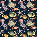Watercolor seamless pattern with fish on blue background. Hand painted tropical fish, starfish, jellyfish, and air Royalty Free Stock Photo