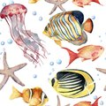 Watercolor seamless pattern with fish. Hand painted tropical fish, starfish, jellyfish, and air bubbles. Nautical Royalty Free Stock Photo