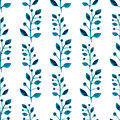 Watercolor seamless pattern. Floral vector hand paint background. Blue twigs, leaves, foliage on white background. For fabric