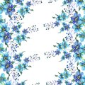 Watercolor seamless pattern with flowers forget-me-nots on a white background