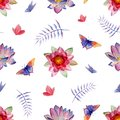 Watercolor seamless pattern with flowers and insects