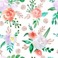 Watercolor seamless pattern with flowers
