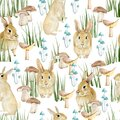Watercolor seamless pattern forest animal. Cute baby illustration with rabbit, green grass, mushroom for the textile fabric.