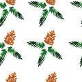 Watercolor seamless pattern forest cones vector christmas background Stock Photography