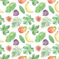 Watercolor seamless pattern with fruits, plants, leaves, flowers of Africa.