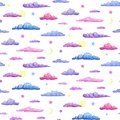Watercolor seamless pattern of gentle purple pink and blue clouds. pastel clouds with stars crescent and full moon on white
