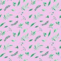 stock image of  Watercolor seamless pattern with green herbs and leaves on rose background