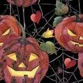 Watercolor seamless pattern. Halloween. Spooky pumpkins with light eyes.