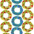 Watercolor seamless pattern hand drawn christmas wreath with decor isolated on white background