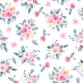Watercolor seamless pattern hand painted with flower pink peony rose leaves