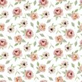 Watercolor seamless pattern hand painted vintage flowers. Nature spring design roses, anemones, peonies isolated on white backgrou Royalty Free Stock Photo